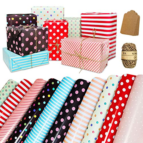 Wrapping Paper Sheets, 10 Pack Birthday Wrapping Paper Set Included 10 Pieces of Cards Tags and 10 Meters of Cotton Thread, Dots, Stripe Colorful Present Gift Wrap Paper for Birthday, Baby Shower, Weddings, Graduations, Boys, Girls, Men, Women, All Occasion, 20 X 28 inch Per Sheet