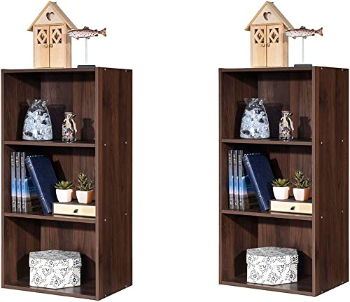 lowest Giantex 2 Pieces 3 Shelf Bookcase Book outlet sale Shelves Open Storage Cabinet Multi-Functional Home Office Bedroom Furniture popular Display Bookcases, Brown sale