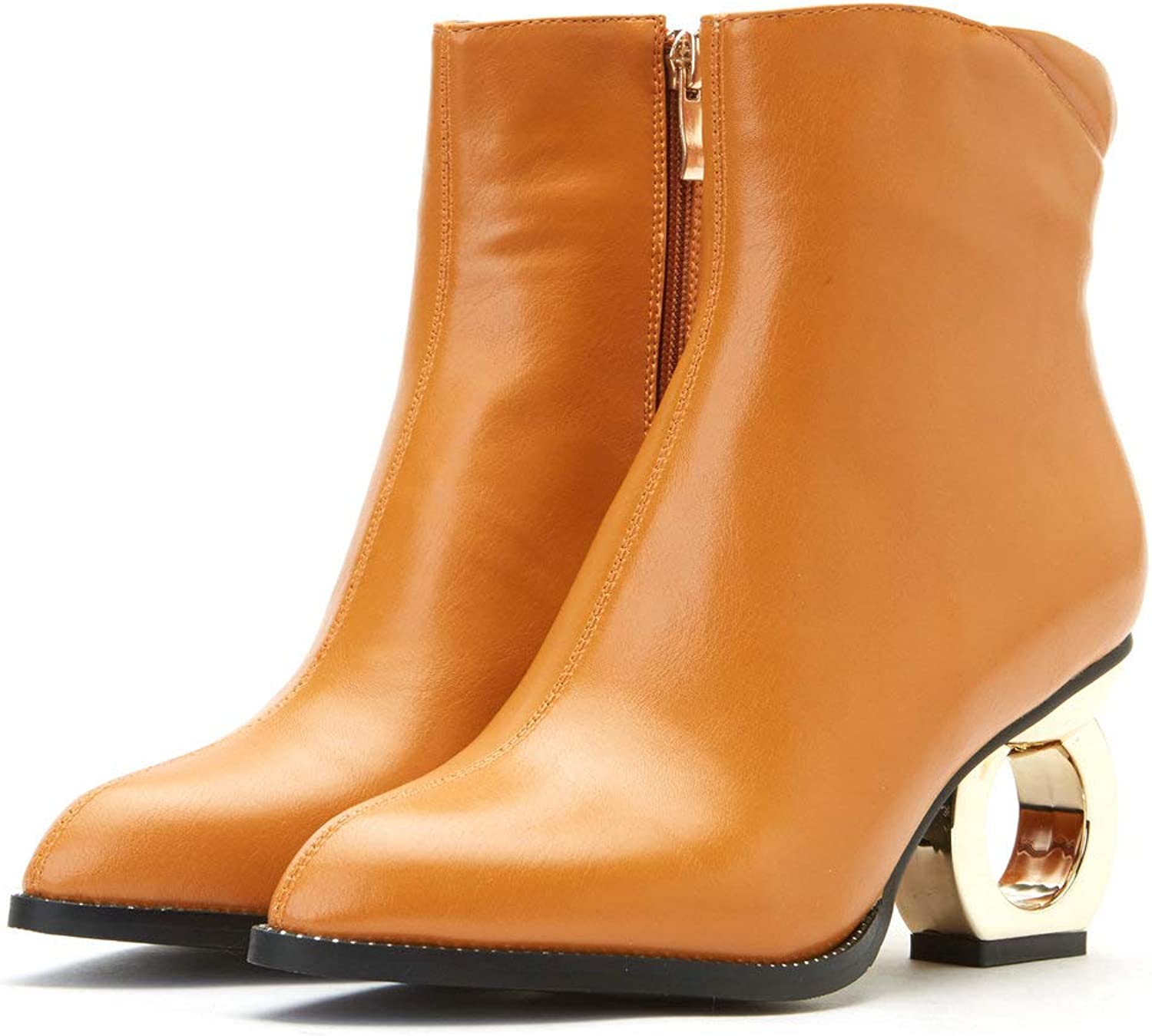 AnMengXinLing Fashion Ankle Boots Women Novel High Heel Pointed Toe Leather Western Studded Boots Side Zipper Plus Size