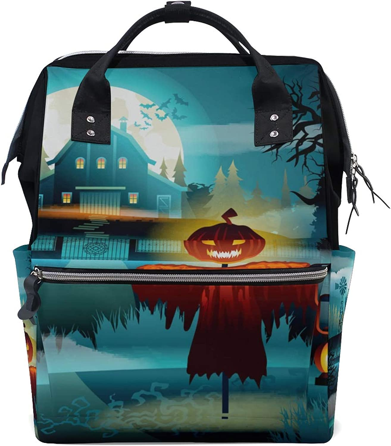 ColourLife Diaper bag Backpack Halloween Scary Old Graveyard Tote Bag Casual Daypack Multifunctional Nappy Bags