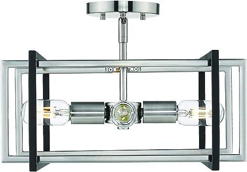 wholesale Golden Lighting 6070-SF online PW-BLK Tribeca online sale Semi-Flush - Damp, Pewter sale