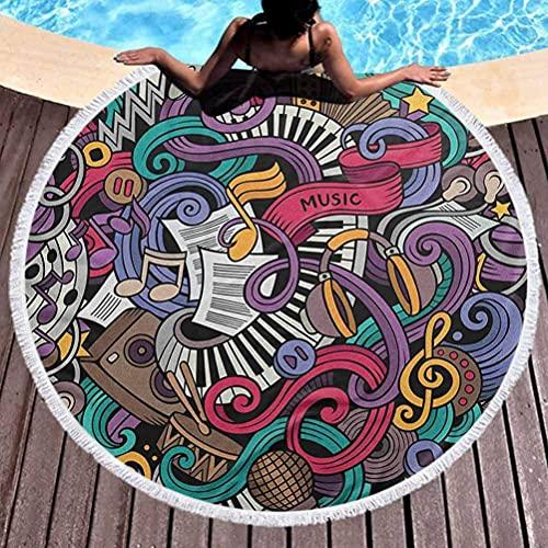 Toalla de playa para exteriores, de secado rápido, borlas, círculo,