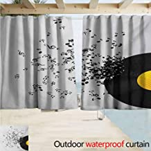 AndyTours Camouflage Curtains,Music Abstract Design Flying Music Notes Disc Album Dancing Nightclub Print,Rod Pocket Curtain Panels,W72x72L Inches Ivory Black and Yellow