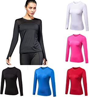 Festnight New Women Yoga Tops Sexy Gym Sportswear Fitness Round Neck Long Sleeves Running shirt Quick Dry Yoga Shirt Activ...