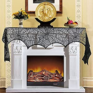 geroircb halloween decorations 18 x 96 inch black lace spiderweb fireplace mantle scarf cover festive party supplies silk flower arrangements
