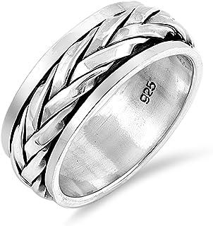 氧化复古编织绳结旋转戒指纯银戒指尺寸 7-13