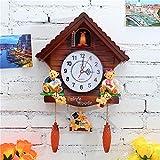 YJSMXYD Wanduhren Mode Hängen Wanduhr Uhr Vogel Kuckuck Wecker Vintage Kuckucksuhr Wohnzimmer Wanduhr Moderne Kurze Kinder Dekorationen Hause Tag Zeit Alarm