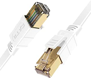 CableGeeker Cat 8 Ethernet Cable 3ft Shielded - Cat8 SFTP Flat Internet Cable (Upgraded 26AWG, 40Gbps, 2000Mhz) High Speed LAN Network Patch RJ45 Cable for Router, Modem, Gaming, Outdoor - White