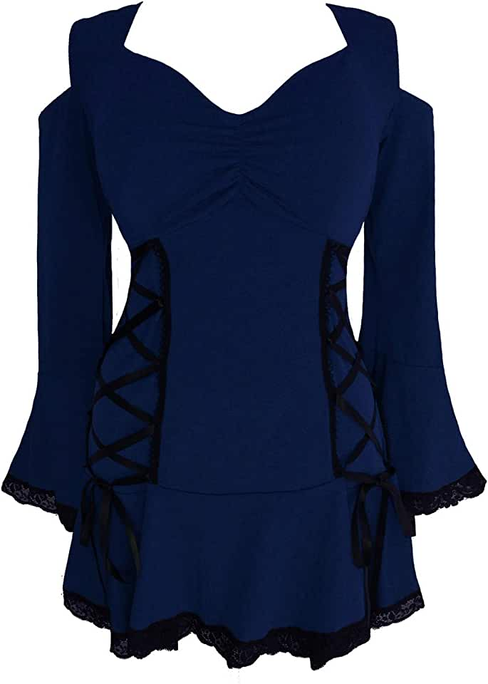 Dare to Wear Temptation Corset Top: Victorian Gothic Women's Cold Shoulder Bell Sleeve Lace Casual Cosplay Festival Tunic