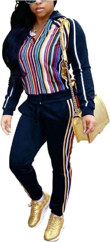 Abetteric Womens Two Piece Sweatshirt Long Pant Leisure Stripes Set Tracksuit