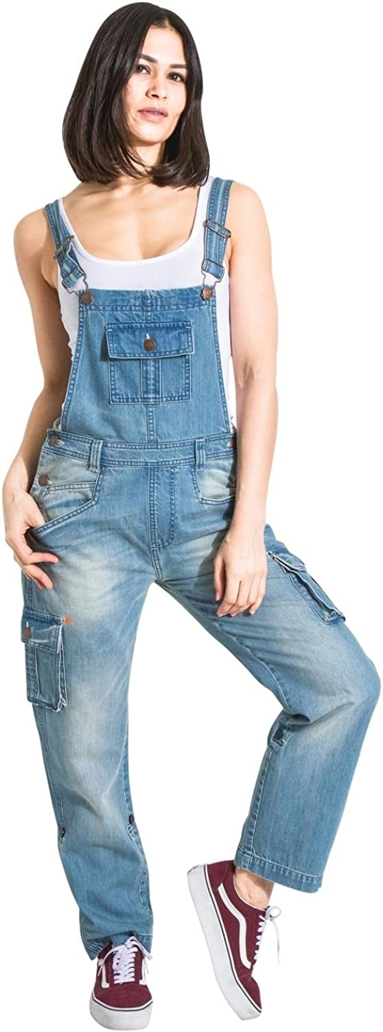 USKEES Womens Denim Dungarees with Repair Detail Relaxed fit Rollup leg Bibove