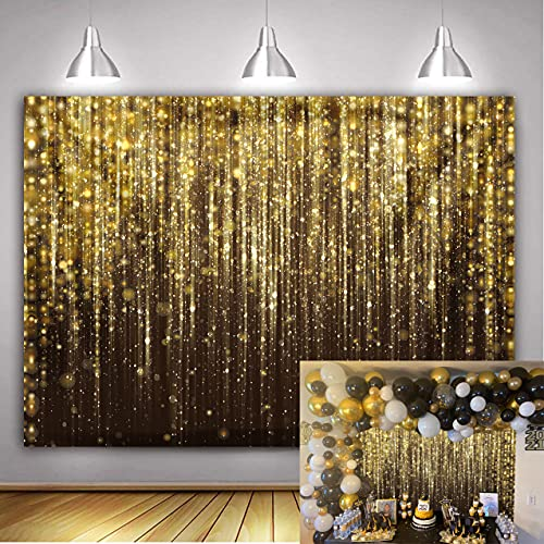 WDA Toile de fond dorée à pois dorés pour photographie d'adultes, décoration de fête d'anniversaire, mariage, cérémonie, fournitures de studio photo (2,1 x 1,5 m)