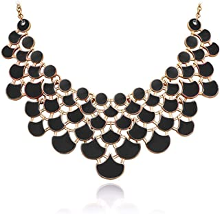Mid Century Bead Necklace Boutique Vintage Black White Irridescent Choker Necklace Fashion Jewelry N2 Statement Necklace Accessory