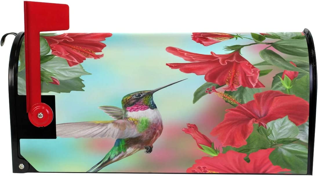 Tarity Hummingbird Flowers Mailbox Covers Magnetic Summer Small Standard Size Mailbox Wraps Letter Post Cover for Home Garden Yard Farmhouse Decor 21 Lx18 W