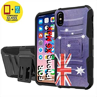TalkingCase Black Dual Layer Phone Case for Apple iPhone Xs MAX,Oldflag Australia Print,Kickstand,Belt Clip Holster,Tempered Glass Protector Included,Designed in USA