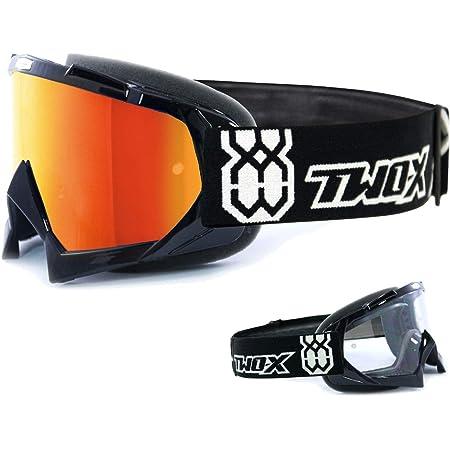 Two X Race Crossbrille Schwarz Glas Verspiegelt Iridium Mx Brille Motocross Enduro Spiegelglas Motorradbrille Anti Scratch Mx Schutzbrille Auto
