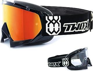 TWO-X Race Crossbrille schwarz Glas verspiegelt Iridium MX Brille Motocross Enduro Spiegelglas Motorradbrille Anti Scratch MX Schutzbrille