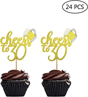 24 Pcs Gold Glitter Cheers To 30 Cake Cupcake Toppers for Happy 30th Birthday Party Decorations Supplies