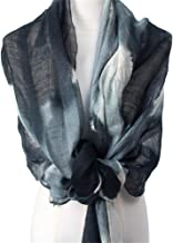 Sacrves Scarf OutdoorLiving Scarf Silk Wool Scarf Women Spring And Summer Shawl Ink Woven Printing Sunscreen (Color : Black)