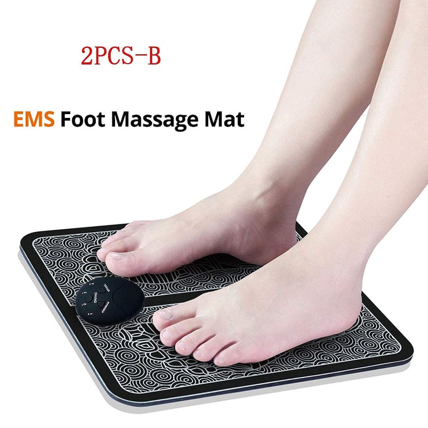 寂しいカリング食品EMSスマートフットマッサージパッド、フットマッサージャー、足指圧療法、血液循環の促進、筋肉痛の緩和、男性と女性用、2個,B