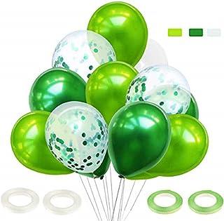 60 Pièces Ballon Vert Foncé, Ballon Confettis, Ballon Anniversaire, Ballon Bapteme, Ballon Vert et Blanc pour Cérémonie An...