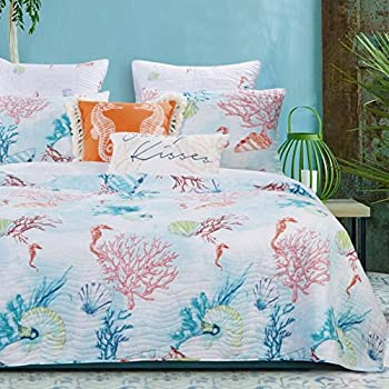 Quilt and Shams Set 3 Piece Coastal Beach Under Sea Reef Seashell Printed Bedding Luxury Soft Microfiber Lightweight Reversible Bedspread Coverlet Full Queen Size Aqua Coral