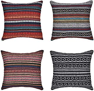 Xiaowli Decorative Throw Pillow Cover for Couch Sofa Bed Set of 4 Bohemian Retro Stripe Cotton Blend Linen Pillow Case 18 ...