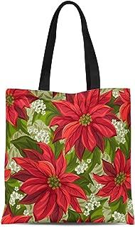 Semtomn Cotton Canvas Tote Bag Red Christmas Wonderful Poinsettia Pattern Flower Pointsettia Victorian Pointsetta Reusable Shoulder Grocery Shopping Bags Handbag Printed