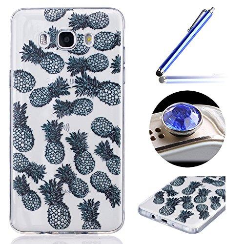Etsue Case Pour Samsung Galaxy J7(2015),Ultra-minces TPU Silicone Coque Black Ananas pattern Case Pour Samsung Galaxy J7(2015),Diux Chir Housse Noir Motif Cover pour Samsung Galaxy J7(2015) + 1 x Bleu stylet + 1 x Bling poussière plug (couleurs aléatoires)-Ananas