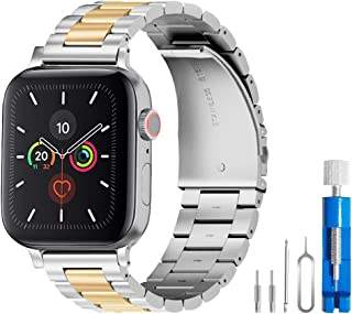 U191U Band Compatible with Apple Watch 38mm 42mm Stainless Steel Wristband Metal Buckle Clasp iWatch 40mm 44mm Strap Bracelet for Apple Watch Series 4/3/2/1 Sports Edition(Silver/Gold, 42MM)