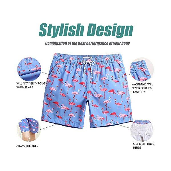 MaaMgic Mens Slim Fit Quick Dry Swim Shorts Swim Trunks Mens Bathing Suits with Mesh Lining