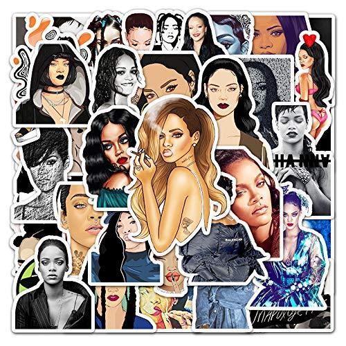 LVLUO La Actriz Rihanna Decora Graffiti Pegatina Maleta Ordenador Coche teléfono Guitarra Pegatina Impermeable 50 Hojas