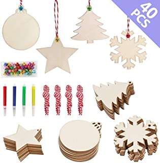 OurWarm 40pcs DIY Christmas Wooden Ornaments Unfinished, 4 Style Craft Wood Kit Great for Crafts Christmas Ornaments DIY Crafts (With 4 Coloured Pens)