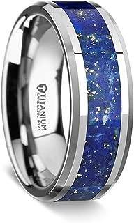 Malone   Titanium Rings for Men   Lightweight Titanium   Comfort Fit   Beveled Edges Titanium Wedding Ring with Blue Lapis Inlay - 8 mm