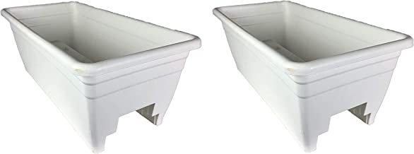 HC Companies Durable 24-Inch Width Outdoor Akro Deck Rail Box Planter with Plugs (2 Pack)