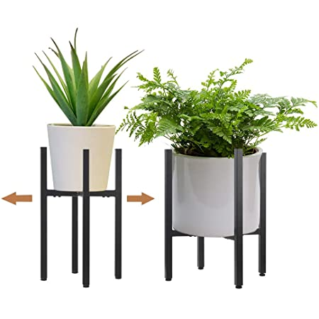 2 Pack Metal Plant Stand Indoor With Adjustable Width Fits 8 To 12 Inch Pots Mid Century Flower Holder For Corner Display Black Planter And Pot Not Included Garden Outdoor