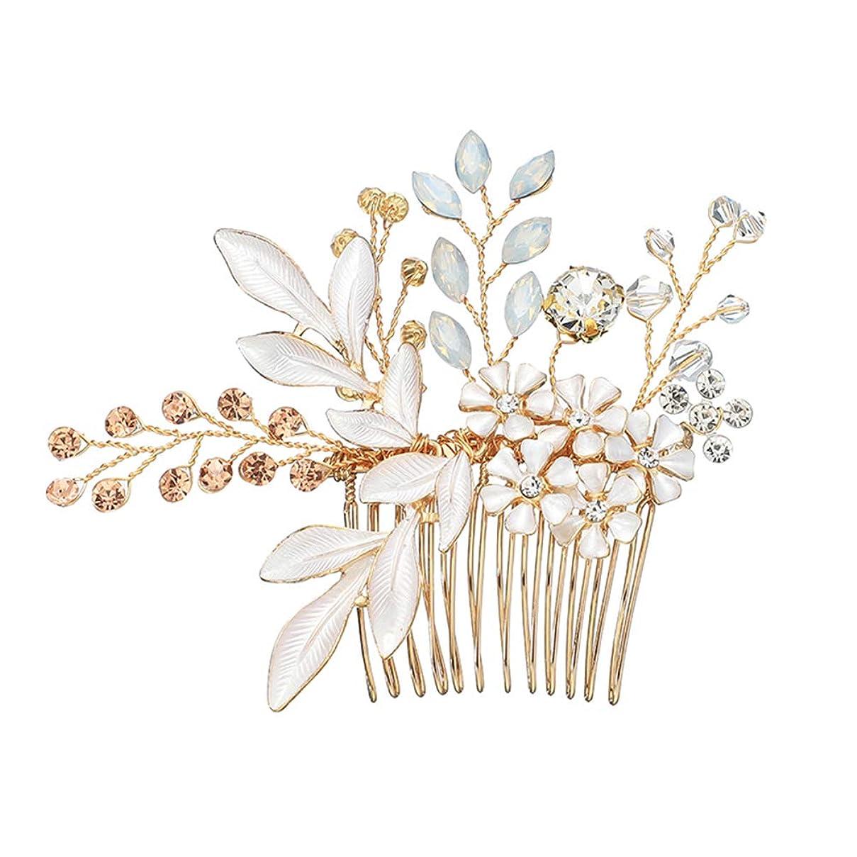 イルひばりグループLURROSE ヨーロピアンスタイルの髪の櫛手作りの花の結晶の頭飾りの葉合金の花嫁のヘアアクセサリーブライドメイドの髪飾り(ゴールデン)