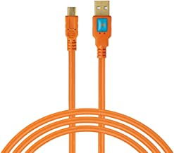 Latch and Lock 15 Foot A Male to Mini-B 5 Pin Gold Plated Cable with Ferrite Core High Visibilty Orange