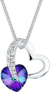 Elli Collier Femme Pendentif Coeur Précieux avec Cristaux en Argent Sterling 925