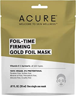 ACURE Foil-Time Firming Gold Mask   100% Vegan   Traps Heat To open pores For Superior Serum Delivery   Vitamin C & Turmeric - For Firm, Glowing & Refreshed Appearance   All Skin Types   5 Count