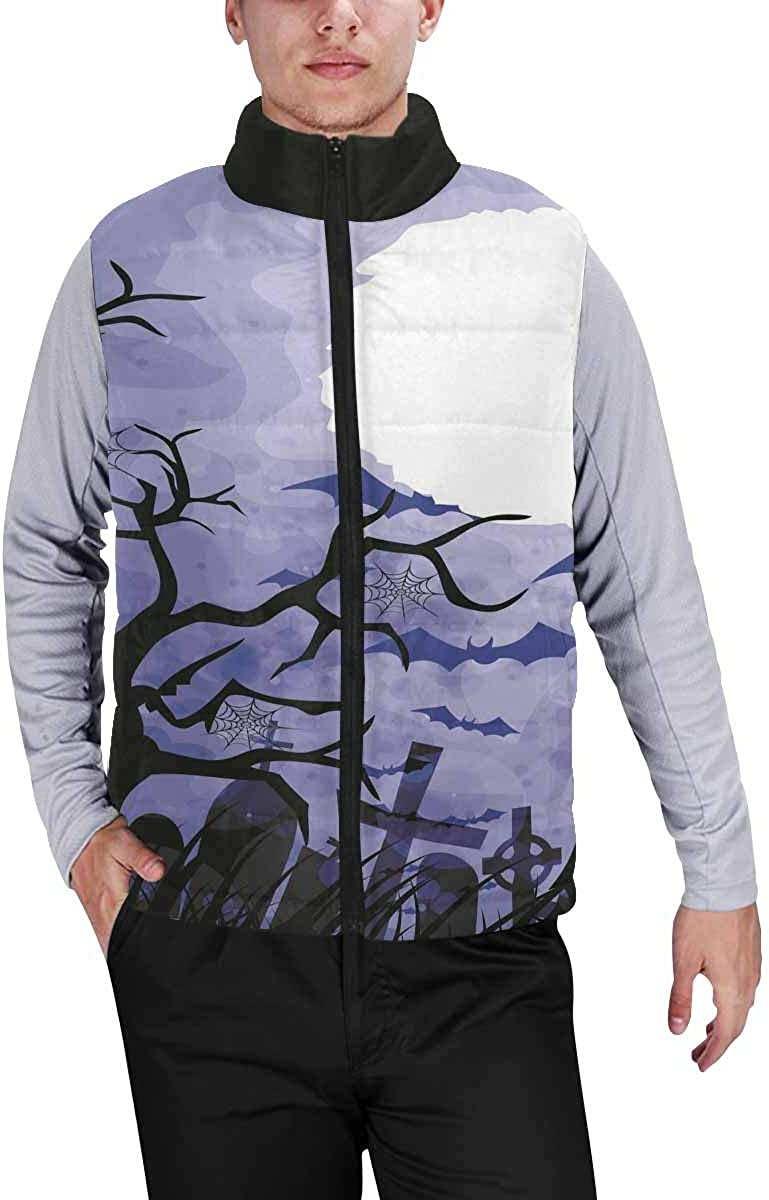 InterestPrint Casual Classic Quilted Sleeveless Vest for Men Halloween Blue Night Sky