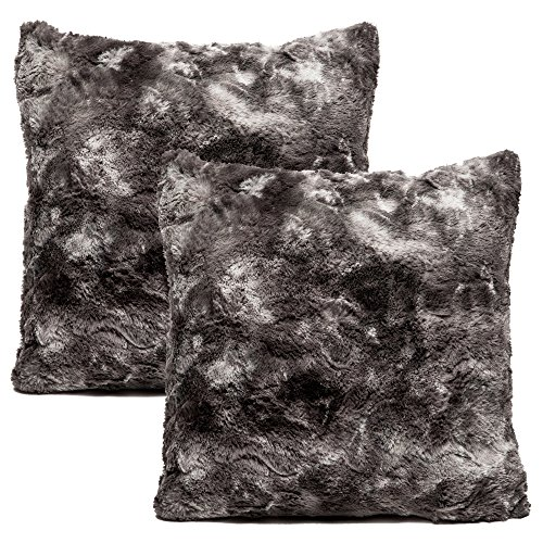 Chanasya Super Soft Fuzzy Faux Fur Cozy Warm Fluffy Dark Gray Fur Throw Pillow Cover Pillow Sham -Charcoal Gray Pillow Sham 18x18 Inches(Pillow Insert Not Included) Waivy Fur Pattern 2-Pack