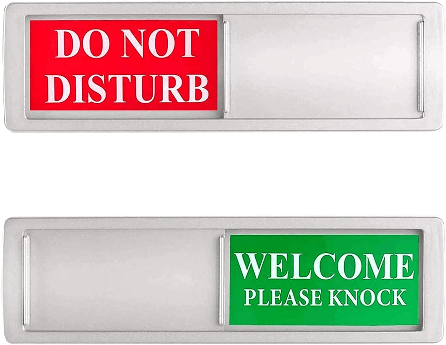 Do Not Disturb Sign, Privacy Please Knock Silver - Sign