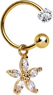 Gold Anodized Steel Clear Dazzling Daisy Dangle Circular Barbell Belly Ring 16 Gauge