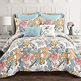 Lush Decor Blue and Yellow Sydney 7-Piece Comforter Set Luxury Bedding (King)