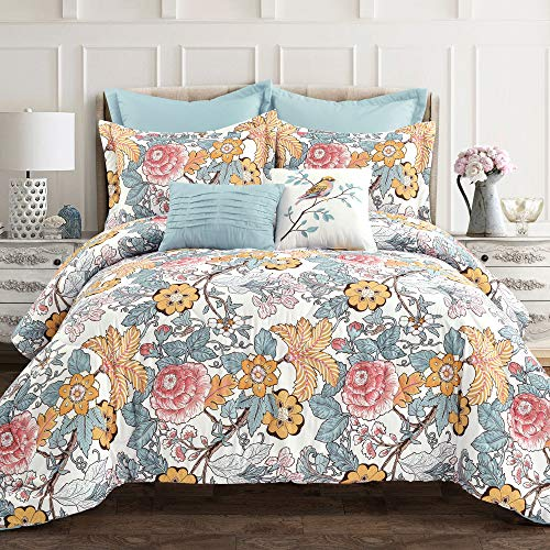 Lush Decor Blue and Yellow Sydney 7 Piece King Comforter Bed Set