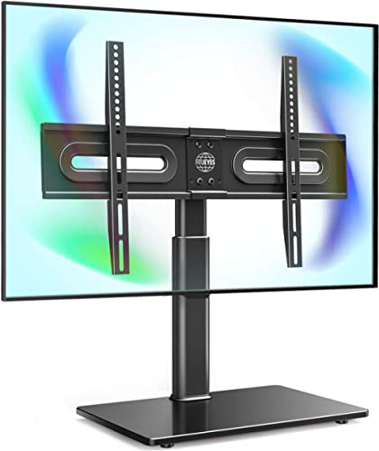 """FITUEYES Universal TV Stand with Mount for 32""""-65 inch Flat Curved Screen with 60 Degree Swivel & 4 Level Height Adju..."""