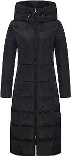 Women's Winter Hooded Full Zip Checker-Quilted Long Packable Down Coat Jacket
