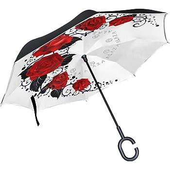 paraguas de manillar libre ISAOA Paraguas grande invertido paraguas reversible plegable paraguas para coche y lluvia uso al aire libre acuarela paraguas de ciervo para hombres y mujeres