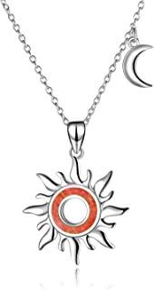 WINNICACA Simulated Opal Sun Necklaces for Women Sterling Silver Moon Pendant Necklace Jewelry Birthday Gifts October Birthstone
